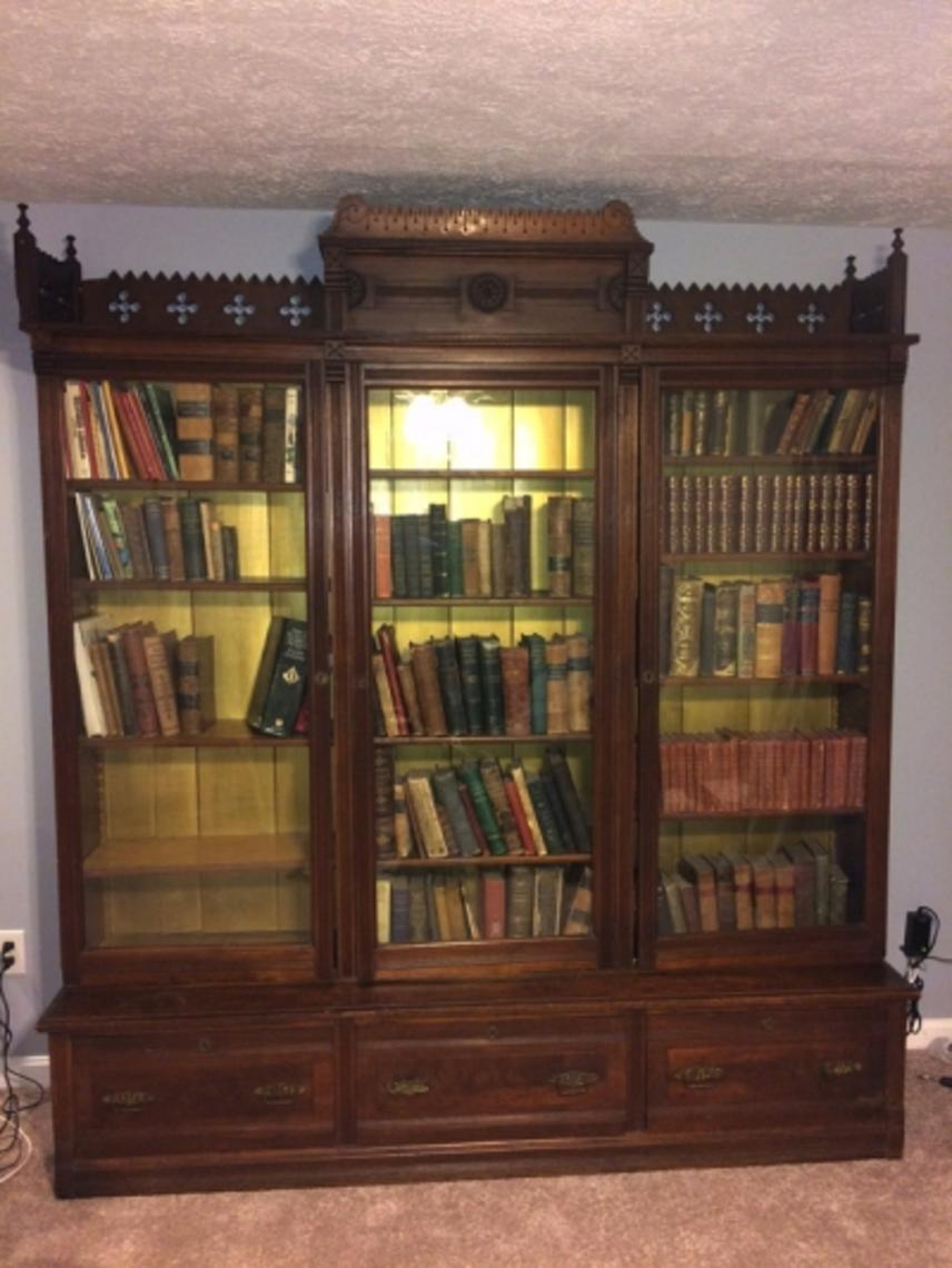Three Door Victorian Walnut Bookcase Library Bookcase