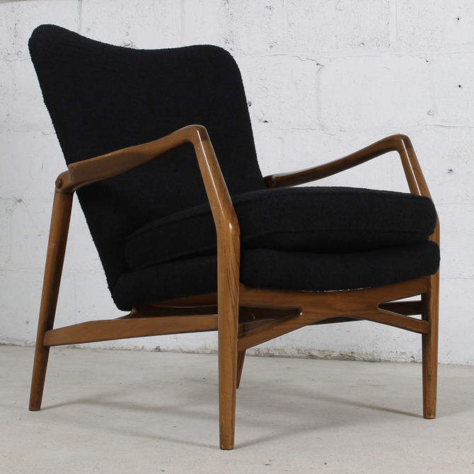 Mid Century Swedish Modern Walnut Wingback Chair