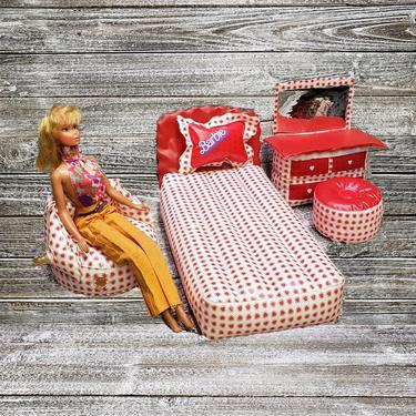 Vintage Inflatable Barbie Bedroom Furniture, 5pc Barbie Doll Furniture,  1970s Mattel, Red & White Hearts Blow Up Bedroom Set, Vintage Toys by ...