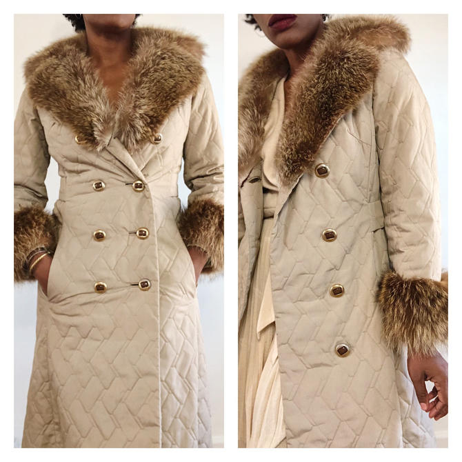 Vintage 1960s 1970s 70s Quilted Fur Collar Coat Trench Stole Muff Lined Double Breasted Tan Brown Light Weight Warm Winter Jacket Small by KeepersVintage