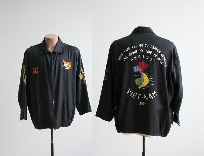 1960s Vietnam Souvenir Jacket / Cotton Embroidered Vintage Vietnam Jacket / Embroidered Tiger / Vintage Military  Vietnam Souvenir Jacket / by milkandice