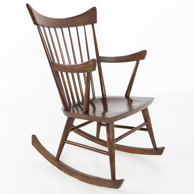 Paul McCobb Style Mid Century Walnut Rocking Chair - mcm by ModernHill