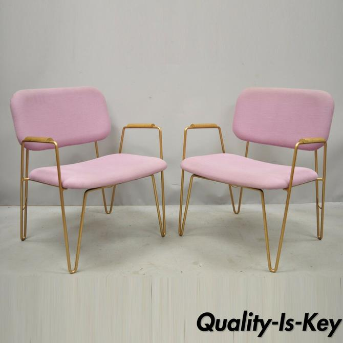 Pair of Contemporary Modern Purple Gold Metal Hairpin Leg Lounge Arm Chairs