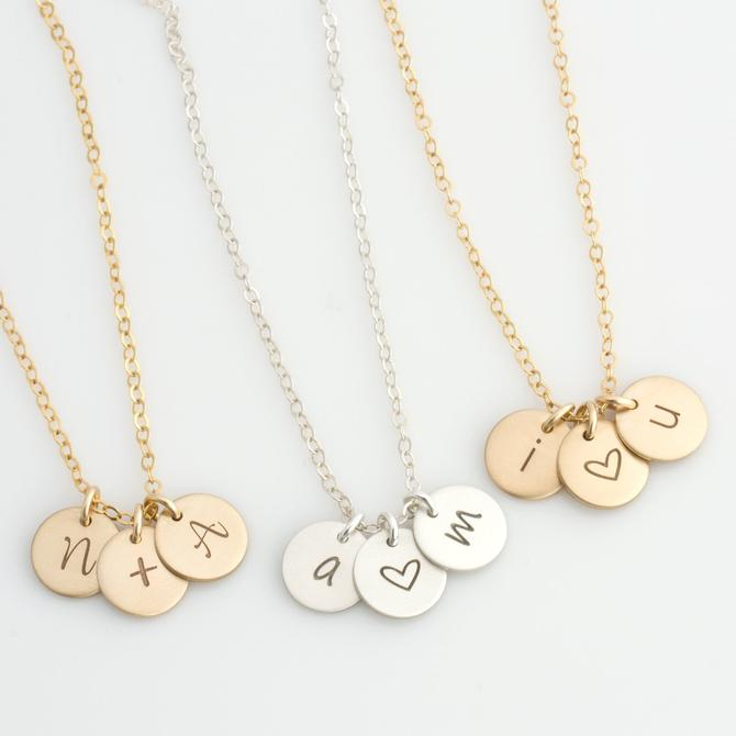 Valentine's Day Gift, Anniversary Gift, I Love You Necklace, Heart Necklace, Personalized Valentines Necklace, Initial Necklace,Gift for Her by LEILAjewelryshop