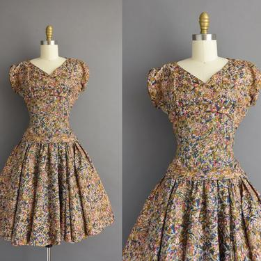 1950s vintage dress | Beautiful Floral Print Sweeping Full Skirt Cocktail Party Dress | Small | 50s dress by simplicityisbliss