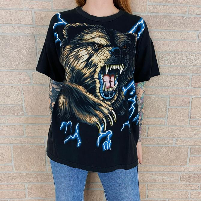 90's American Thunder Grizzy Bear Vintage T-Shirt by NoteworthyGarments