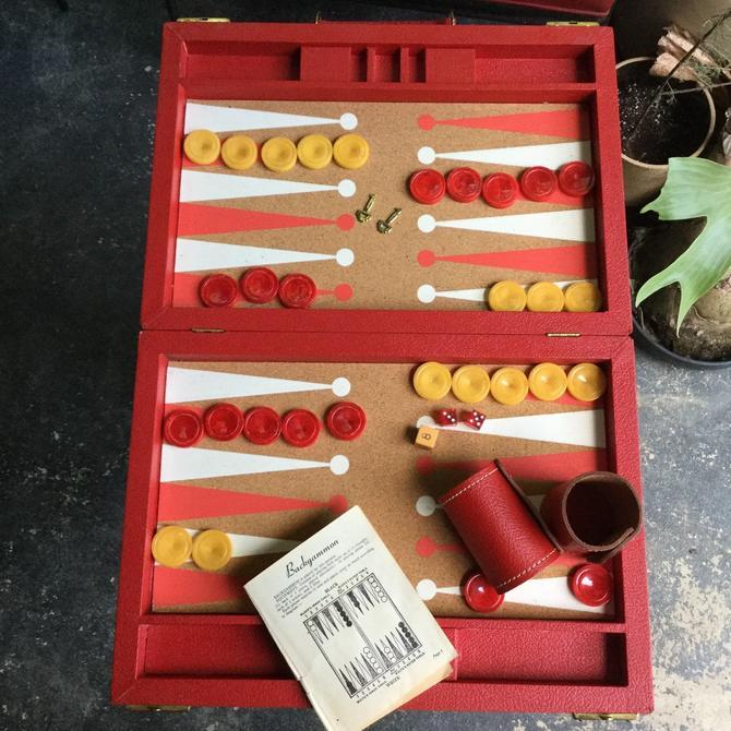Retro Red Backgammon Bakelite Travel Set & Case Very Retro Cherry Swirls Butterscotch Vintage by BrainWashington