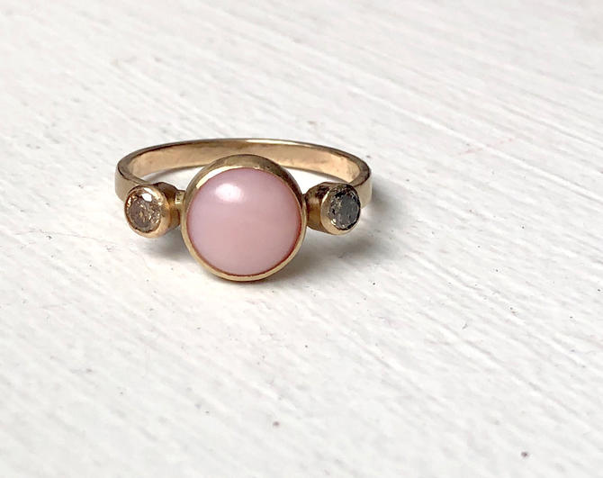 Pink Opal and Champagne Diamond Ring in 14k yellow gold handmade by RachelPfefferDesigns