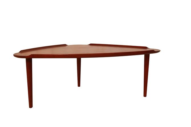Aakjaer Jorgensen for Mobelintarsia Danish Modern Teak Triangular Coffee Table by Marykaysfurniture