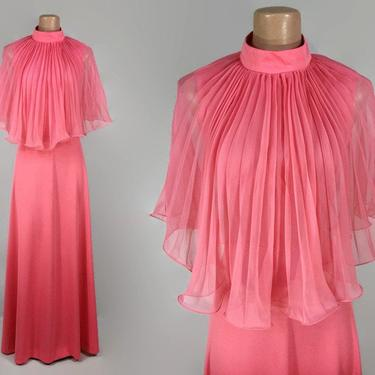 VINTAGE 70s Sheer Accordion Pleated Cape Top Maxi Dress | 1970s Coral Hostess Gown | Long Disco Festival Dress | Studio 54 Style by IntrigueU4Ever