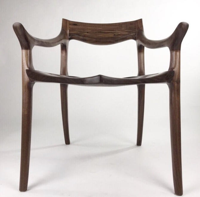 Maloof low back chair, dinning chair, Sculpted chair, chair and ottoman by WoodbeeWoodworks