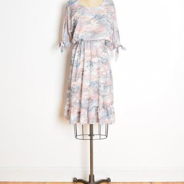 vintage 70s dress watercolor floral print pastel dolman boho hippie midi sun M clothing by huncamuncavintage