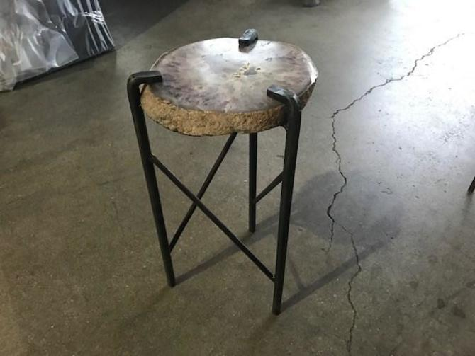 "CUSTOM AGATE SIDE TABLE 10"" X 9.5"" X 18.5"" H"