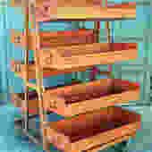 Vintage industrial display cart/storage bin