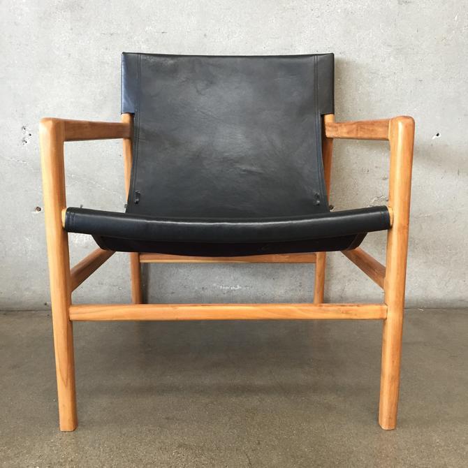 Mid Century Modern Leather & Teak Sling Chair
