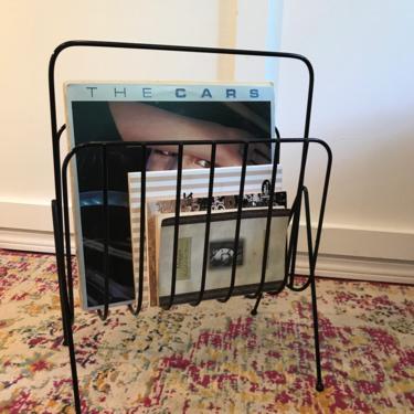 Vintage Magazine Record Rack, Magazine Holder, Magazine Holder, Metal Black Steel Wire Rack, Mid Century Modern Reading Room 1960s MCM by VintageCoreReStore