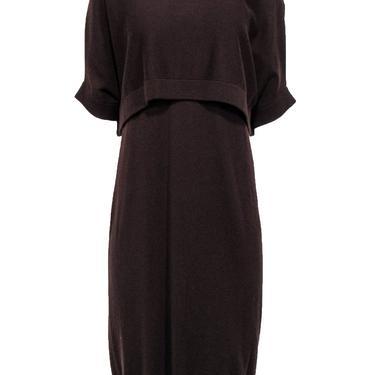 Brunello Cucinelli - Maroon Sleeveless Cashmere Dress & Cropped Sweater Set Sz XL