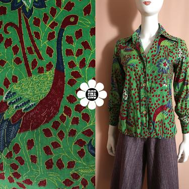 Unique Vintage 70s Green Maroon Bird Patterned Button Down Long Sleeve Collared Shirt by RETMOD