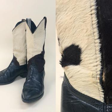 Vintage 1980s Calf Hair & Leather Cowboy Boots, Vintage Distressed Boots, Vintage Calf Skin, Western Southwestern, Size Women's 7.5/8 by MobyDickVintage