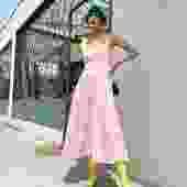 STAUD Strawberry Cream Sleeveless Midi Dress
