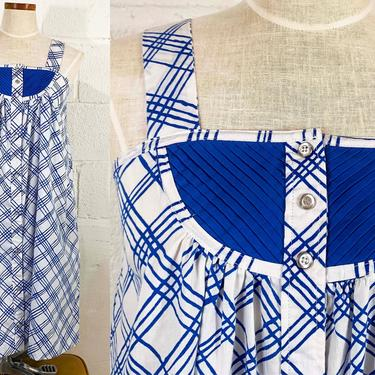 Vintage Striped Blue Sundress Stripe White Sun Dress Sleeveless 1970s 70s Boho Midi Summer Wide Straps Snap Front Trapeze Small by CheckEngineVintage