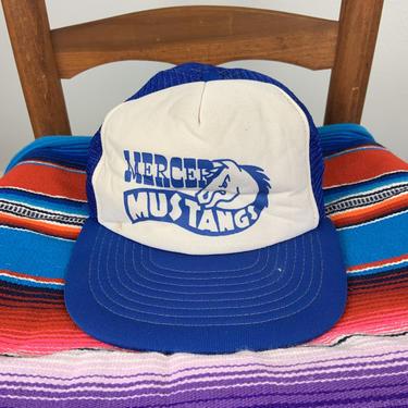 Vintage Snapback Trucker Hat Mercer Mustangs 70s-80s by DesertCactusVintage