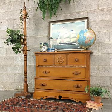 LOCAL PICKUP ONLY Vintage Dresser Retro 1960s Brown Maple Wood + Nautical Carved Details + 3 Drawer Bureau for Bedroom or Clothing Storage by RetrospectVintage215