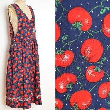 vintage 90s dress navy red tomato novelty print jumper long maxi dress M L clothing by huncamuncavintage