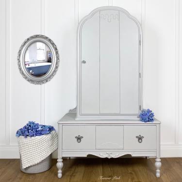 Light Grey Antique Armoire, Vintage Bonnet Top Dresser, Painted Farmhouse Closet Boudoir, Cottage Linen Cabinet by ForeverPinkVintage