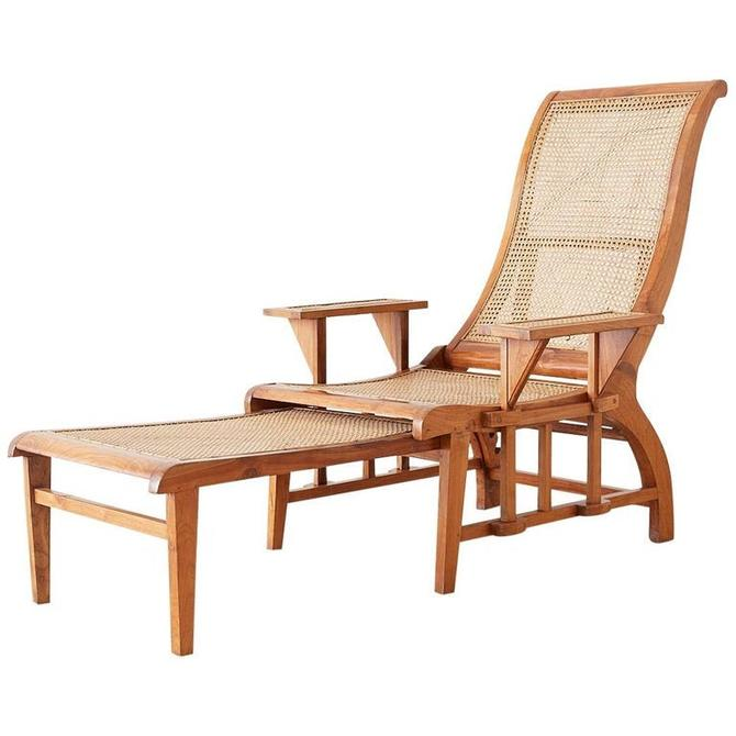 British Colonial Caned Teak Plantation Lounger with Ottoman by ErinLaneEstate