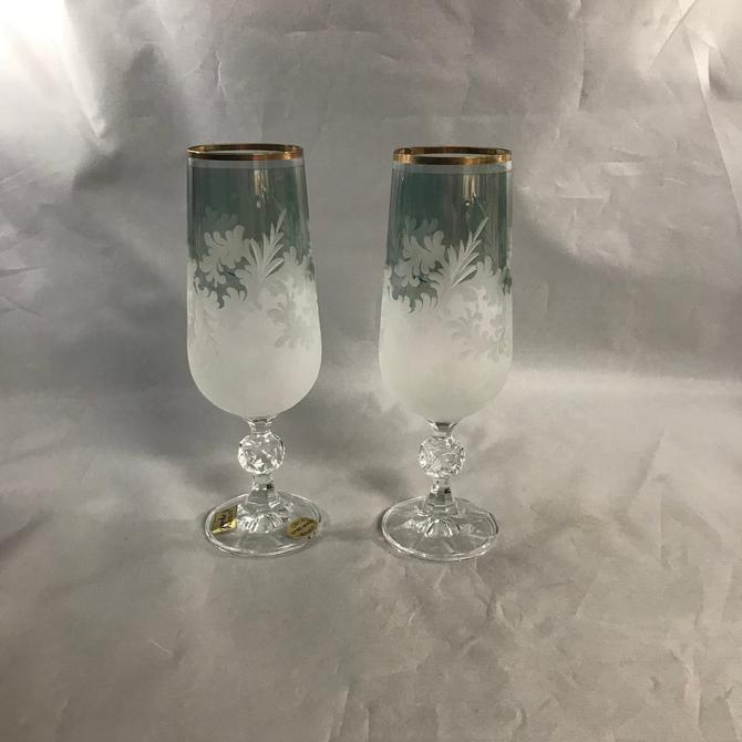 Bohemian Glass Crystal Flutes Etched Frosted Smoky Teal Green Gold Accents Czech Republic Vintage by accokeekpickers