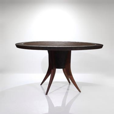 Rare Vintage Round Dining Table with Rope, Cord, Splayed Legs, Glass Top by ReVisionFurniture