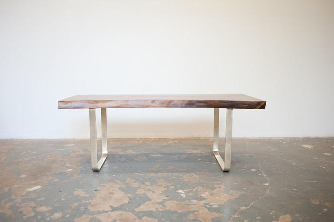 Walnut Coffee Table or Bench w/Solid Brass base by dylangrey