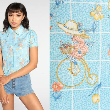 70s Blouse Cute Bike Print Shirt Puff Sleeve Blouse 60s Bicycle Top Boho 1970s Hippie Novelty Vintage Button Up Baby Blue Extra Small xs by ShopExile