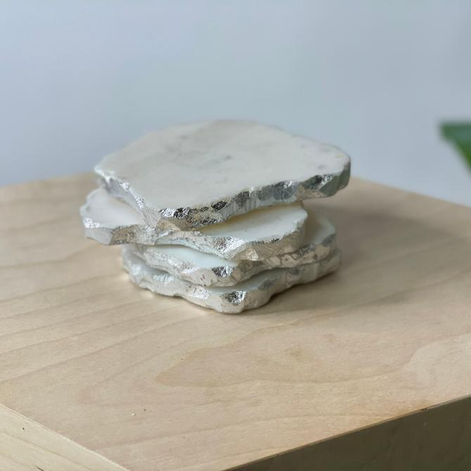 Vintage Marble Coasters with Silver Edges, Set of 4 by Northforkvintageshop