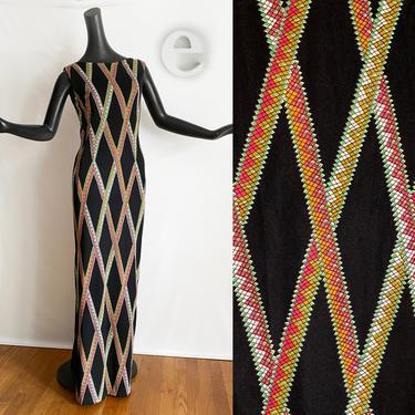 Pauline Trigière Vintage Maxi Dress • 60s MOD Sexy Pencil Sheath Shift • Black + Geometric Snake Print • Designer • Couture • Size Small by elliemayhems