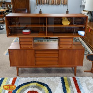Danish Modern teak credenza with elevated hutch by Lyby Mobler