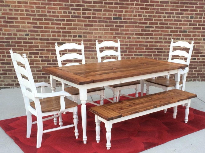 Reserved:Deposit for Rachel's Custom Farmhouse Dining Set by WonderlandWoodworks