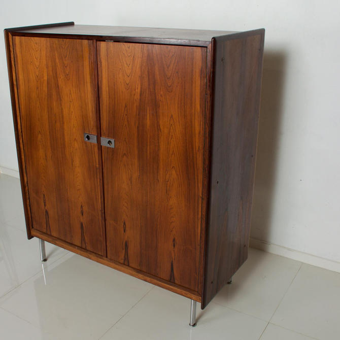 Mid Century Danish Modern Rosewood Highboy Chest of Drawers Storage by AMBIANIC