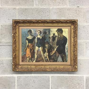 Vintage Moses Soyer Print 1960s Retro Size 24x30 Seven Dancers + Reproduction + Framed + Carved Gold Wood + MCM + Home and Wall Decor by RetrospectVintage215