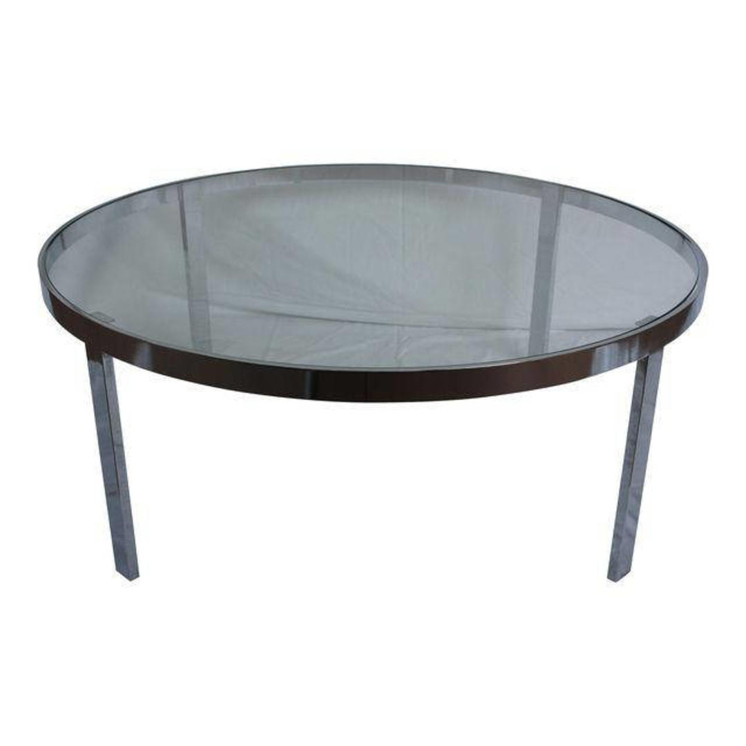 Milo Baughman Chrome Amp Glass Round Coffee Table By