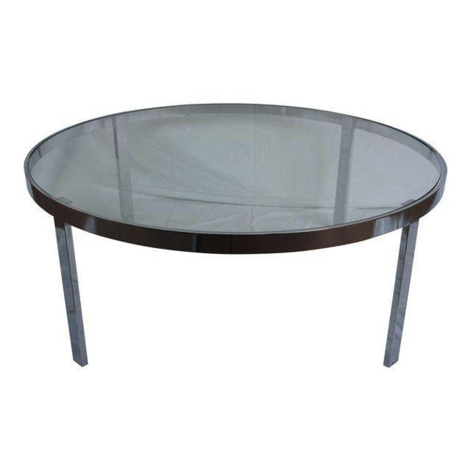 milo baughman chrome glass round coffee table by metronomevintage from metronome vintage of. Black Bedroom Furniture Sets. Home Design Ideas