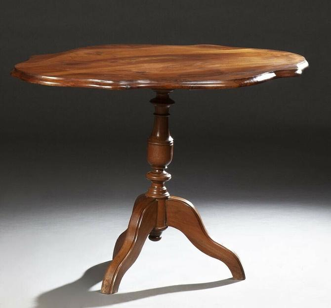 Antique French Louis Philippe-Style Carved Mahogany Tortoise Top Table c. 1900