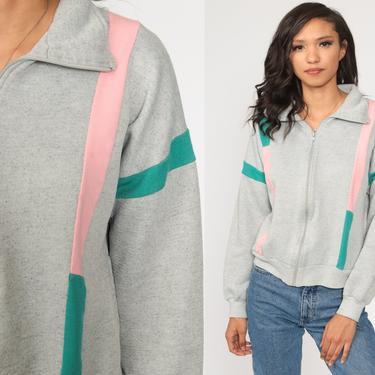 80s Zip Up Sweatshirt Grey Track Jacket Striped Jacket Sport Retro Pink Blue Vintage Tracksuit Medium Large by ShopExile