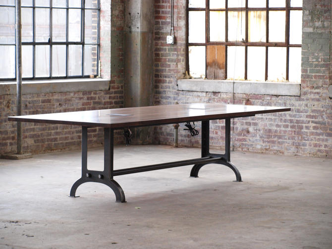 Large Beech Wood Industrial Conference Or Dining Room Table By - Industrial conference room table