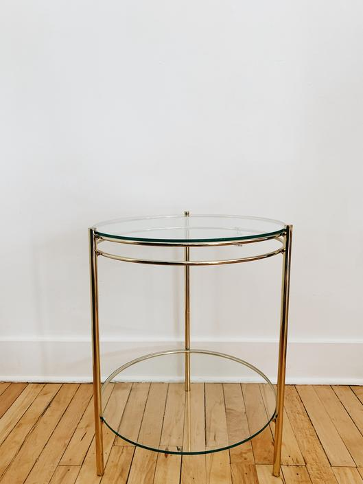 GOLD METAL <BR> SIDE TABLE