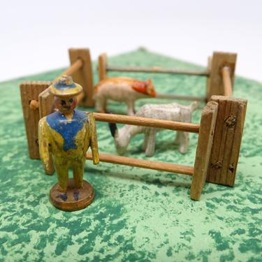 Antique German Wooden Man with Fenced Pig & Goat, Vintage Hand Painted Miniature Toys for Putz or Nativity, Erzgebirge Germany by exploremag