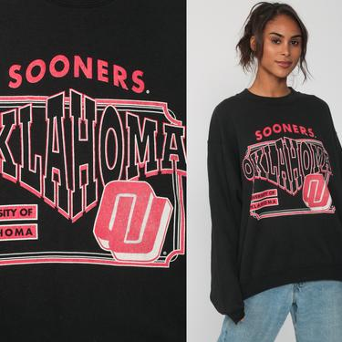 Oklahoma Sooners Sweatshirt 80s University Of OKLAHOMA Graphic College Slouchy 90s College Sweater Grunge Vintage Black Crewneck Large by ShopExile