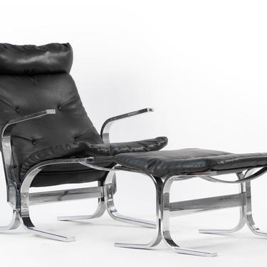 Mid Century Modern Chrome and Leather Lounge Chair with Matching Ottoman in the Manner of Westnofa by ABTModern
