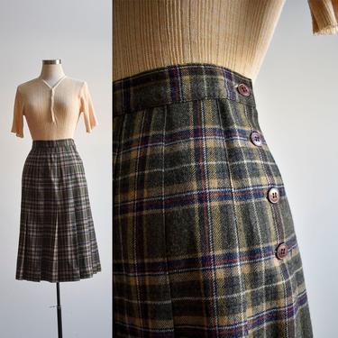 Vintage Green Plaid Wool Pleated Skirt by milkandice